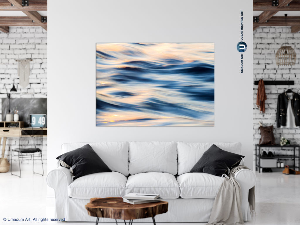 navy blush abstract ocean art