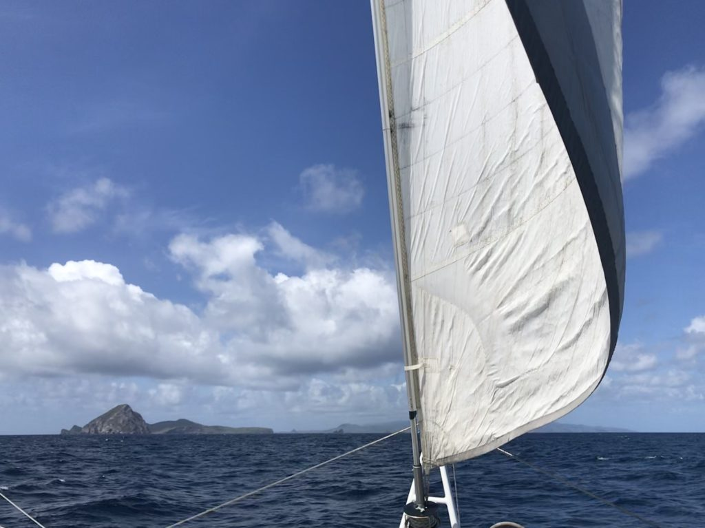Catamaran Umadum sailing in the Caribbean
