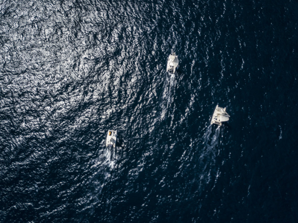 aerial photo sailing catamaran